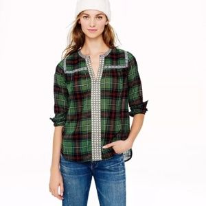 J. Crew Embroidered Peasant Top in Green Plaid